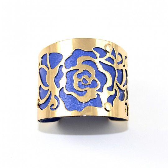 Bracelet manchette dorée et bleu