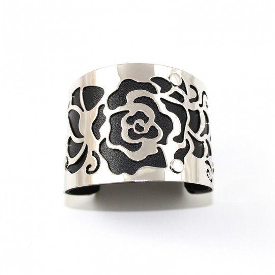 Bracelet manchette argentée et noir
