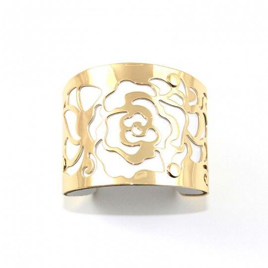 Bracelet manchette dorée et blanc