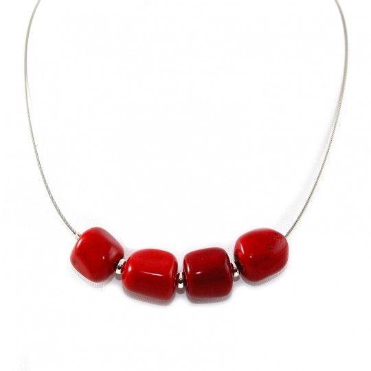 Collier corail teinte rouge
