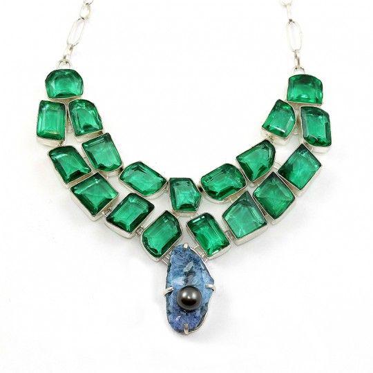 Collier pierre Quartz bleu et cristaux synthétique vert