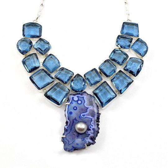 Collier pierre Quartz bleu et cristaux synthétique bleu