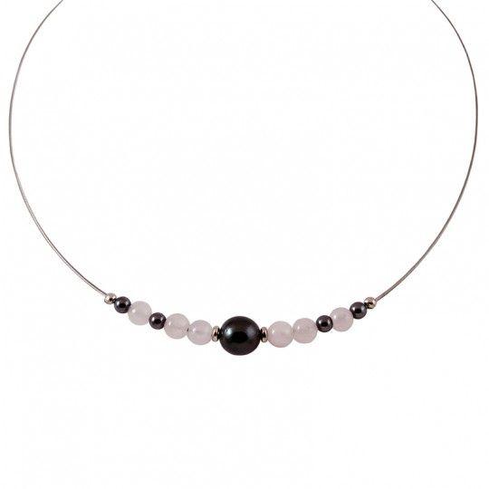 Collier quartz rose et perle de Tahiti