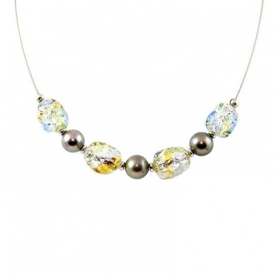 Collier perles de Murano et perles de Tahiti