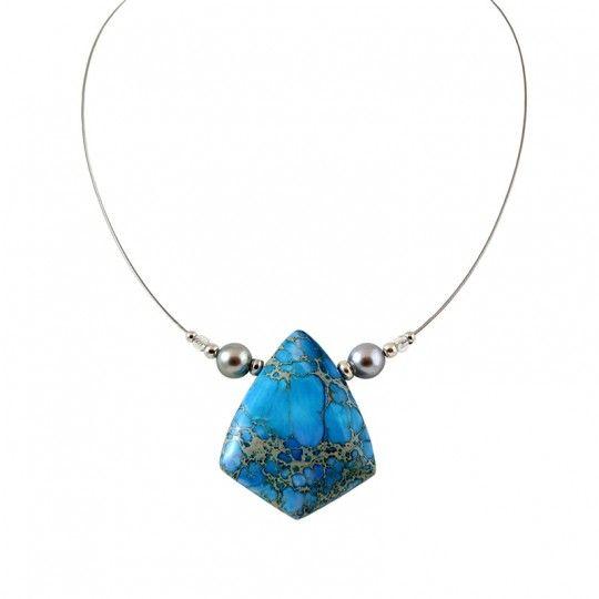 Collier Jaspe bleu et perles de Tahiti