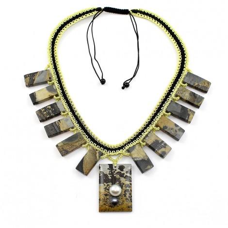 Collier Jaspe et perle de Tahiti