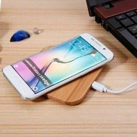 Chargeur sans fil en bambou / Chargement par contct sur le plateau / Pour iPhone & Android