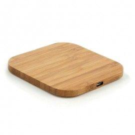 Chargeur sans fil en bambou / Chargement par contact sur le plateau / Pour iPhone & Android
