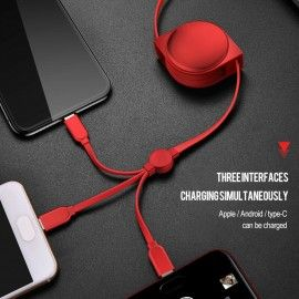 3-in-1 câble rétractable Micro Type C USB  pour charger Android iPhone X XS XR