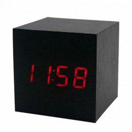 Horloge réveil à LED - Bois brun