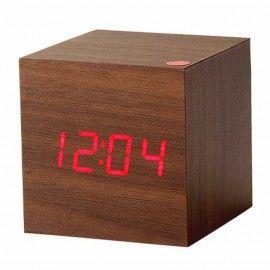 Horloge réveil à LED - Bois marron