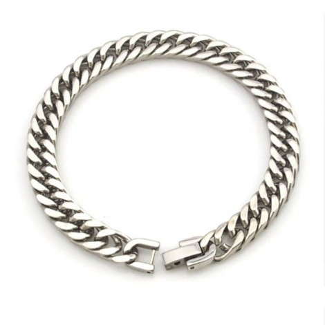 Bracelet chaîne inoxydable mailles polies
