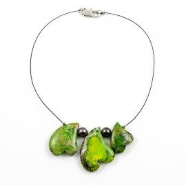 Collier perles de Tahiti et Jaspe vert 3 coeurs