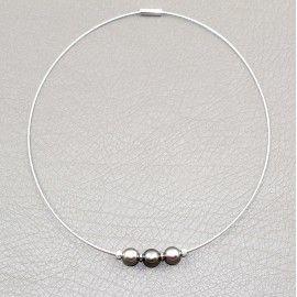 Collier 3 perles de Tahiti sur jonc inoxydable