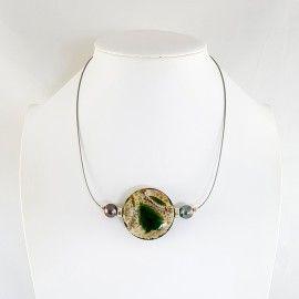 Collier Agate et perles de Tahiti sur jonc inoxydable