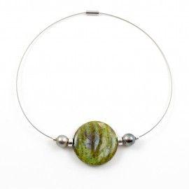 Collier Agate vert  ocre et perles de Tahiti