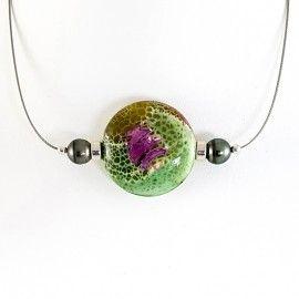 Collier Agate et 2 perles de Tahiti sur jonc inoxydable
