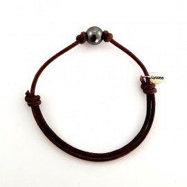Bracelet cordon cuir et perle de Tahiti