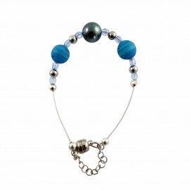 Bracelet perle de Tahiti et perles de verre sur câble inoxydable