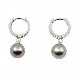 Boucles d'oreilles petites créoles en argent 925 et perles de Tahiti