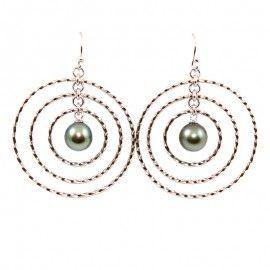 Boucles D'oreilles Créoles en Argent 925 et Perles De Tahiti