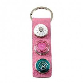 Porte-clés cuir à boutons pression soleil coeur cercle