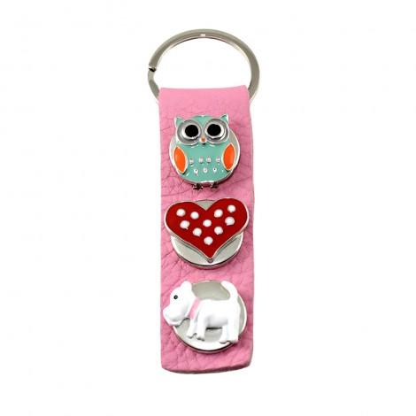 Porte-clés cuir à boutons pression hibou coeur caniche