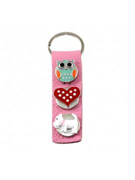 """Porte-clés cuir rose à boutons pression """"Hibou Coeur Caniche"""""""