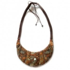 Collier Jaspe en pétales et perle de Tahiti