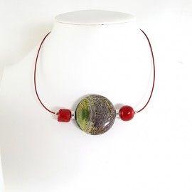 Collier Agate et perles de corail
