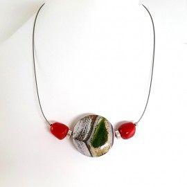 Collier Agate et perles de corail de teinte rouge