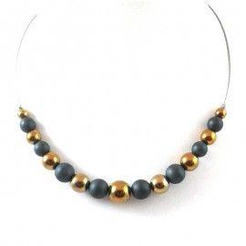 Collier perles d'Hématite doré et mate