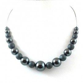 Collier perles d'Hématite brillant et mate