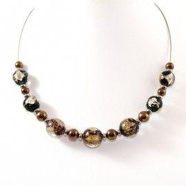 Collier Style Murano et perles d'Hématite dorées