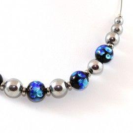 Collier Style Murano bleu et perles d'Hématite argenté