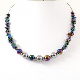 Collier perles d'Hématite irisé