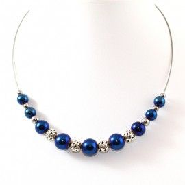 Collier perles d'Hématite bleu