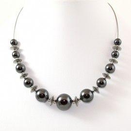 Collier perles d'Hématite anthracite