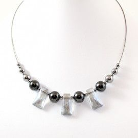 Collier Cristal et perles d'Hématite