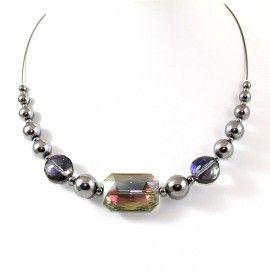 Collier Style Murano et perles d'Hématite dorée
