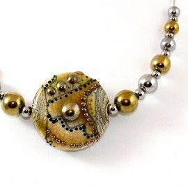 Collier style Murano et perles d'Hématite