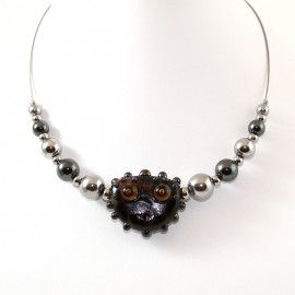 Collier Figurine style Murano et perles d'Hématite