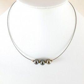 Collier 3 perles de Tahiti