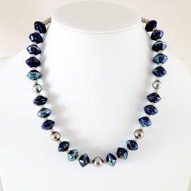 Collier perles de Tahiti et style Murano