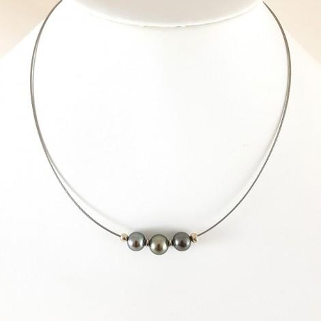 Collier perles de Tahiti, set de 3 perles
