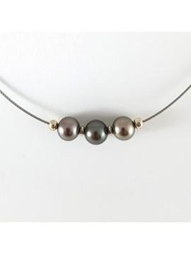 """Collier 3 perles de Tahiti - By """"NACRE NOIRE"""""""