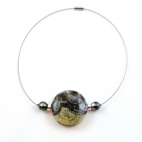 Collier Agate et perles de Tahiti cerclées