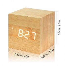 Horloge Alarme Date Digital À LED - Bois clair