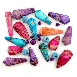 Perles de Jaspe lave et agate multicolores vrac