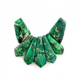 Perles en jaspe paysage vert